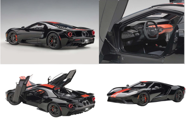 Ford GT Shadow Black with Orange Stripes 1/18 Model Car by Auto