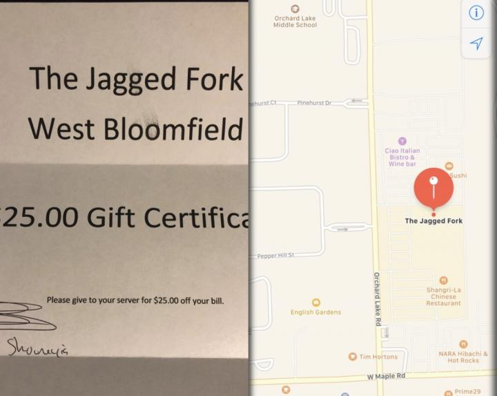 Jagged Fork - $25 Gift Certificate