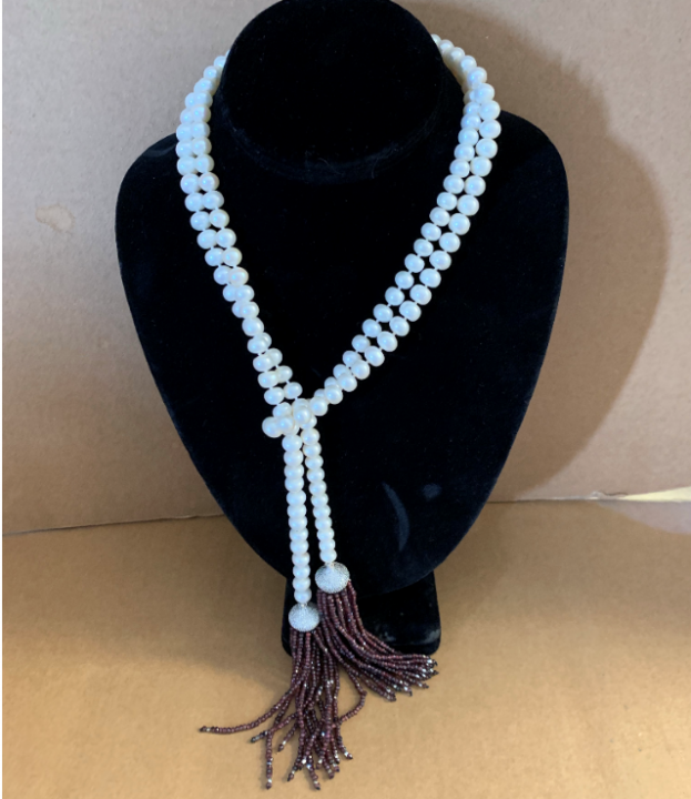 Pearl Rope with Crystal Tassels