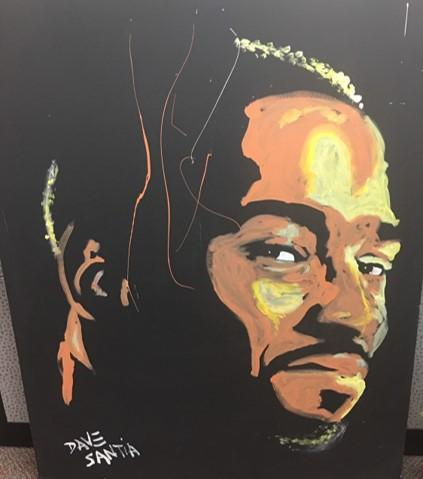 Large Painting of Calvin Johnson